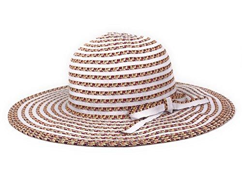 Unbekannt Damen - Sommerhut Sonnenhut Hut Kofferhut Sonnenschutzhut - 6740 (Weiß, ca. 57 cm)