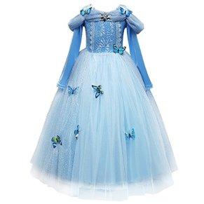 IWEMEK Disfraz de Carnaval Vestido de Cenicienta para Niñas Traje de Princesa Disfraces de Halloween Navidad Cumpleaños…