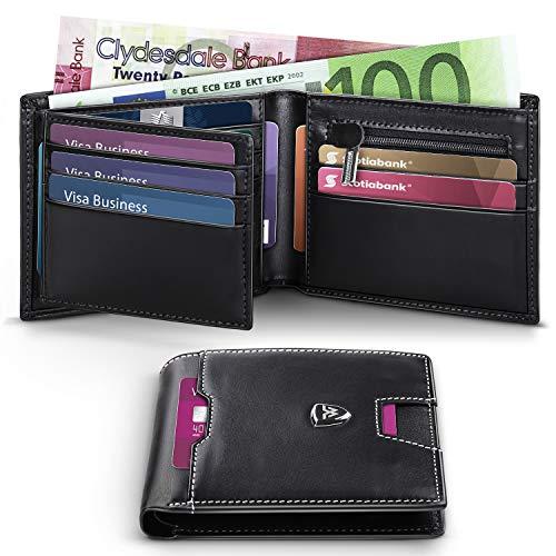 663278f029 Portafoglio Uomo RFID Blocking con cartoline e borsa,Trifold Slim Portafogli  in vera pelle con tasca con cerniera,15 porta carte di credito e  portautensili.