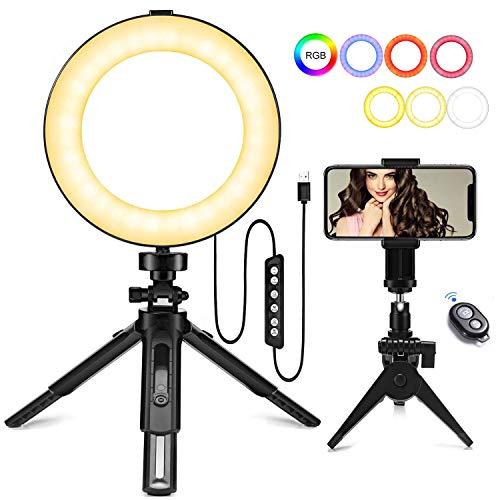 LED Luce ad Anello 6',mactrem Ring Light RGB Dimmerabile con Supporto per treppiede E Supporto per...