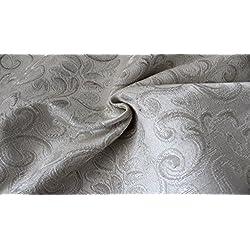 Tessuto Tappezzeria Arredamento Raso Damascato Ramace Vari Colori 280x280 cm-Avorio