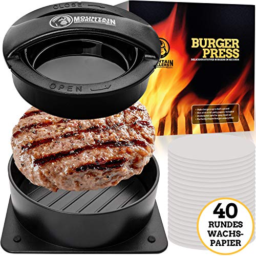 Burgerpresse Patty Maker   Handliche antihafte Form mit 40 STK backpapier für perfekte Burger, Patties oder Frikadellen   Robustes Grillzubehör, spülmaschinenfeste Hamburger Presse