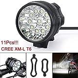 28000 Lm 11x CREE T6 LED 3 Modi Fahrradlampe Fahrrad Licht Scheinwerfer Radfahren Taschenlampe Geeignet für Outdoor-Aktivitäten wie Camping Angeln Wandern Karte lesen