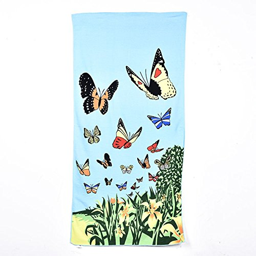 Toalla de playa de microfibra de lujo de lujo de rayas mullidas toalla de baño de toallas de baño ligero por yunhigh - suave absorbente seco rápido (mariposa)