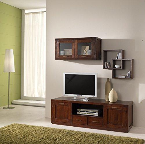 Mobile porta Tv serie 'Compact' stile etnico coloniale moderno realizzato artigianalmente in legno...