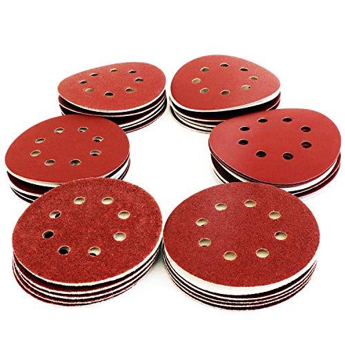 S&R Klett Schleifpapier Set 125 mm 60 St: je 10x P40, P60, P80, P120, P180, P240, 8 Löcher, für Exzenterschleifer