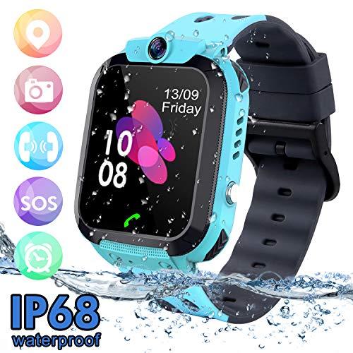 Bambini Smartwatch Impermeabile, GPS/LBS Tracker Phone Watch per bambini Ragazze Ragazzi con SOS...