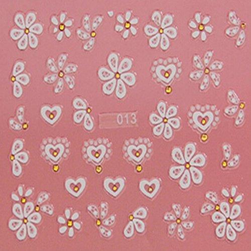 EVTECH (TM) 5 PCS Nail Sticker Decal Craved Flores de la mariposa del corazón del amor de la herramienta del arte 3D Sonrisa Flor Hermosa Nail Tatoo Etiqueta