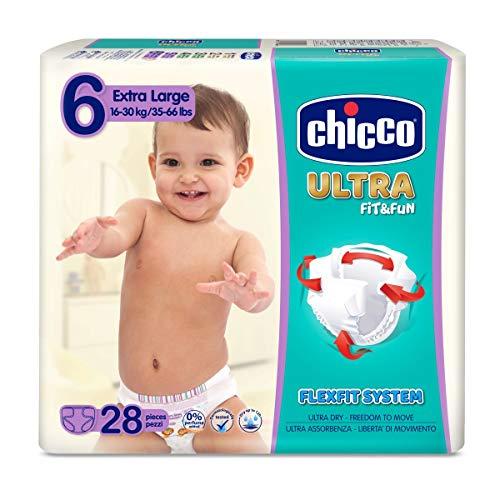 Chicco Chicco Ultra Fit&Fun - Confezione da 28 pannolini ultra assorbenti, taglia 6, 16-30 kg, 28 pezzi