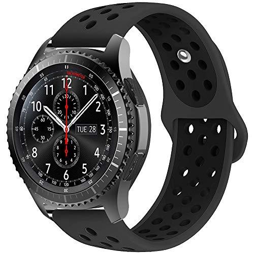 iBazal 22mm Cinturino Silicone Sport Banda Compatibile con Samsung Gear S3 Frontier Classic SM-R760,Galaxy Watch 46mm SM-R800,Huawei GT/2 Classic/Honor Magic,Ticwatch Pro Orologio Band - Charcoal/Nero