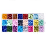 PandaHall Elite 1 Scatola 6000PCS 4mm Perline Vetro 6/0 Perline Colorate per Bigiotteria Fai da Te, Colore Misto, 4mm, Foro: 1.5mm