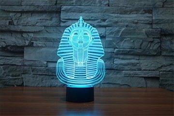 3D Illusion Egipto esfinge Faraon Lámpara luces de la noche ajustable 7 colores LED Creative Interruptor táctil estéreo visual atmósfera mesa regalo para Navidad 7