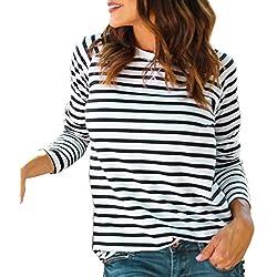 Bestow Camiseta a Rayas con Cuello Redondo y Manga Larga para Mujer Camiseta con Rayas a Rayas y Rayas Casual Mujer(Blanco,XL)