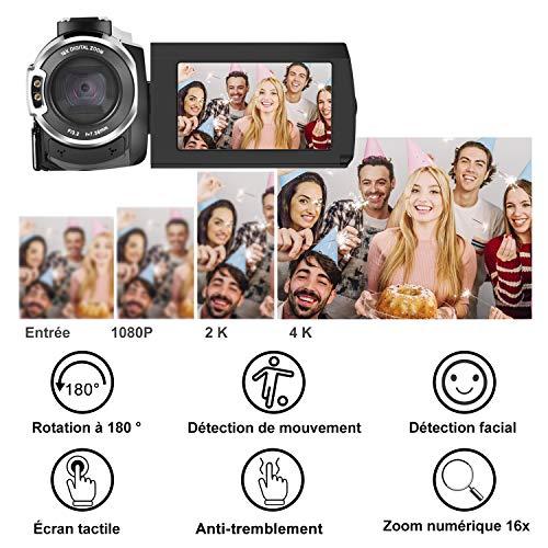 Caméscope 4K,FamBrow Caméra Vidéo WiFi 48MP IR Vision de Nuit 16 x Digital Zoom,Camescope Numerique 270 Degrés Rotatif Écran Tactile Camera ... 26