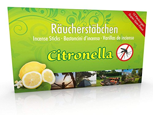 10 confezioni di incenso Citronella anti zanzare, tempo di combustione circa 60 ore (totale). XL...