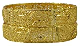 Matra 18K Goldplated Ethnic Indian Women 2 Pcs Kada Bangle Set Traditional Party Jewellery 2*4