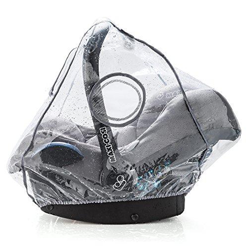 Universal Komfort Regenschutz für Babyschale (z.B. Maxi-Cosi/Cybex/Römer) - gute Luftzirkulation, verschließbares Kontakt-Fenster, Eingriffsöffnung für Tragegriff, PVC-frei