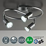 LED Deckenleuchte LED Deckenlampe LED Deckenspirale Deckenstrahler LED Lampe LED Leuchte Deckenleuchte Spot LED Deckenspot inklusive 3W GU10 warmweiss schwenkbar Metall titanfarbig Wohnzimmer 3 flammig