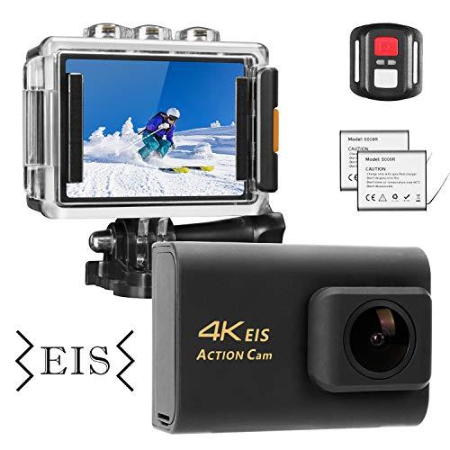 NINE CUBE Action Camera 4K Ultra HD WiFi 20MP, Fotocamera Sportiva Impermeabile da 30M, Mic Esterno, grandangolo 170 °, 2.0''LCD, Telecomando 2.4G, EIS, 2 batterie Ricaricabili e Kit di Accessori