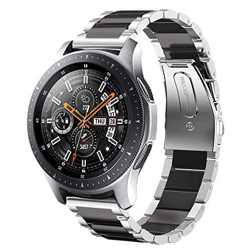 SUNDAREE Cinturino Galaxy Watch 46MM,22MM Cinturini di Ricambio Acciaio Inossidabile Band Sgancio Rapido Cinghia di Polso per Samsung Galaxy Watch 46MM SM-R800/Gear S3 Classic/Frontier(Argento+Nero)