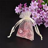Nbeads 100pcs sacchetti regalo in organza per matrimoni, gioielli, avorio, 7x 5x 0.2cm