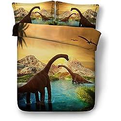 Sticker superb 3D Dinosaurio Niño Hombre Ropa de Cama con Funda de Almohada, Mar Dinosaurio Volador Funda de Edredón para Todo el Año (Dinosaurio en Mar, 180_x_220_cm para Cama de 105/90cm)
