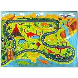 KC CUBS - Alfombra para niños, dormitorios y Sala de Juegos, colección Playtime Dinosaur Dino Safari