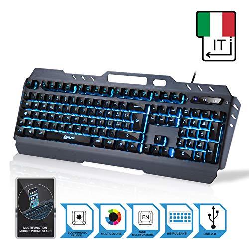 KLIM Tastiera - Nuova Versione - Tastiera Semi-Meccanica QWERTY Ibrida - Scelta di 7 Colori +...