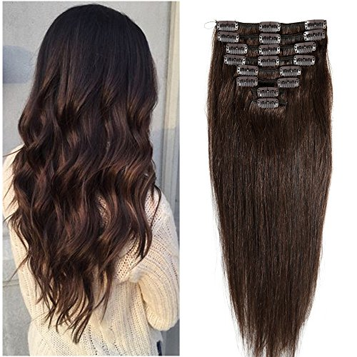 "16"" 8pz Capelli Umani Naturali Veri Remy Human Hair Extension con Clips Testa Intera Capelli Lisci"