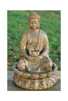B&B Pozo Escultura Estatua de Buda 52cm con Agua + Luz Feng Shui Figura