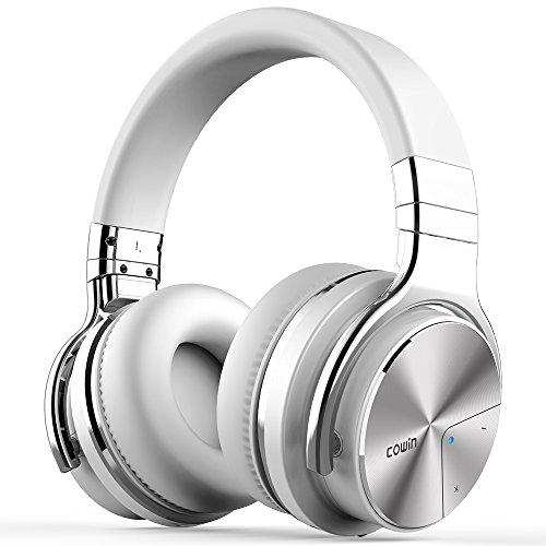 COWIN E7 PRO [2018 Actualización]Auriculares inalámbricos Bluetooth con micrófono Hi-Fi de graves profundos, (Hi-Res Audio, cancelación de ruido, Bluetooth,30 horas de autonomía) - Blanco