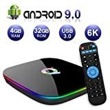 Android TV BOX, Q PLUS Android 9.0 TV BOX 4GB RAM/32GB ROM H6 Quad-Core Support 2.4Ghz WiFi 6K HDMI DLNA 3D Smart TV BOX