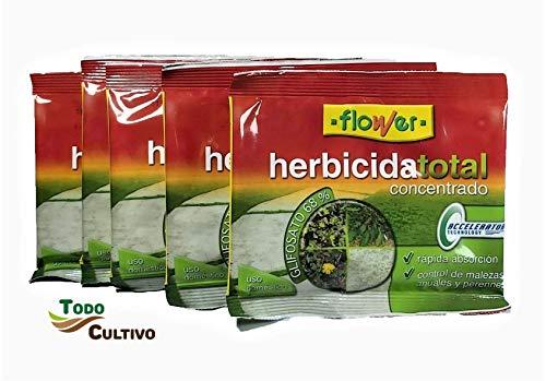 Herbicida Total Concentrado glifosato 50%. Pack 5 Sobres (75 liltros de Agua). Utilizado para la eliminación Total de Malas Hierbas