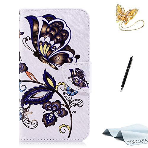 TOUCASA Huawei P10 Lite Handyhülle,Huawei P10 Lite Hülle, Brieftasche Flip case 360 Grad Karte Halterung Kartenfächer extra Dünn Klapphülle Leinwand Farbmalerei Art fürHuawei P10 Lite(Schmetterling)