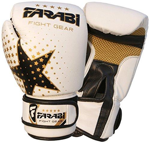 Farabi Guanti da boxe, MMA, Muay Thai Junior guanti per sacco da boxe, bianco 170,1gram by