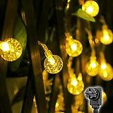 Salcar 10m LED Kugel Lichterkette, 50 Kristall Kugeln LEDs, Wasserdicht Garten LED Lichterkette Dekoratives für Bäume, Traufen, Terrasse usw - Warmweiß