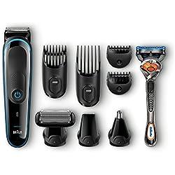 Braun Multigrooming-Set MGK3080, Bartschneider, Trimmer, Bodygroomer, mit Gillette Flexball, schwarz/blau