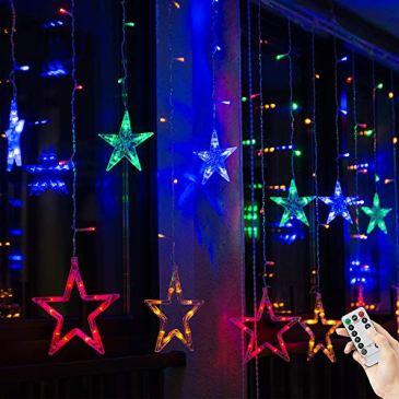 BLOOMWIN Rideau de Lumière Étoiles 2m * 1m LED Guirlande Lumineuse avec Anneau Fixe 8 Programes d'Effet Lumières de Noël Décoration pour Anniversaire Maison Mariage Jardin Fenêtre Noël Multicolore