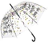 Parapluie Transparent Cloche/Dôme pour Femme - Système d'Ouverture Automatique - Large Protection 100CM de Diamètre - Imprimé CONFETTIS - Blooms of London