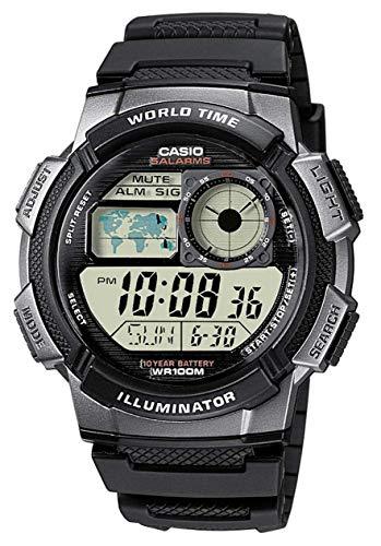 Casio Collection AE-1000W-1BVEF, Orologio con Luce LED da Uomo, Nero/ Grigio