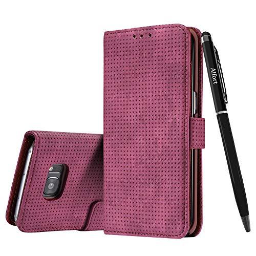 Samsung Galaxy S7 Hülle, Samsung Galaxy S7 Schutzhülle Leder Hülle, Alfort Retro Ledertasche Gasdurchlässig PU Leder Tasche für Samsung Galaxy S7 Smartphone mit Magnetverschluss (Rote) + Stylus Pen