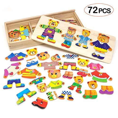 Lewo Puzzle in legno Vesti la famiglia Orsi per bambini 72 pezzi
