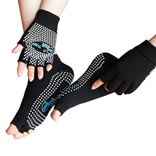 LJ Sport da donna ragazza Yoga Socks e guanti Set calze di cotone antiscivolo non Slip Skid Half...