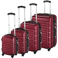TecTake Set de 4 valises de Voyage de ABS Serrure à Combinaison intégrée   poignée télescopique   roulettes 360° - diverses Couleurs au Choix - (Bordeaux   no. 402026)