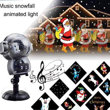 BASDT Projecteur d'animation Noel Neige- 8 Effet d'animation/Lecteur de musique/Effet de chute de neige/Télécommande – Anime conduit LED Chute de neige Lumière pour Halloween/Noël