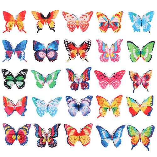BESTONZON Set di 100 cialde di carta commestibile farfalla CakeCupcake Toppers colori assortiti...
