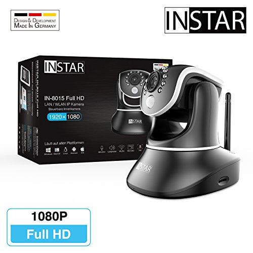 INSTAR IN-8015 Full HD schwarz / IP Kamera / ONVIF / Überwachungskamera / LAN WLAN WiFi / PIR / WDR / Bewegungserkennung / Nachtsicht / Weitwinkel / steuerbar / Mikrofon / Lautsprecher / Baby Monitor