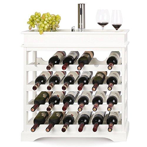 HOMFA Cantinetta Portabottiglie in MDF per 24 Bottiglie, Scaffale Porta Vino e Calici Bianco 70 ×...