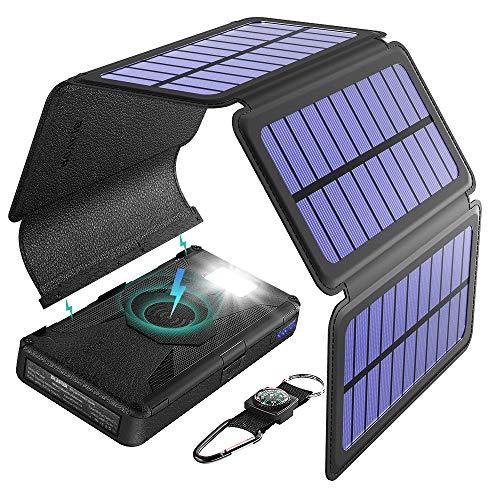 Cargador solar Cinco paneles Solares Desmontable 20000mah Batería Externa inalámbrico Banco de energía portátil con salida doble Tipo C Entrada SOS Linterna y kit de brújula