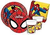 Ciao Y2493 - Kit Party Festa in Tavola Spider Man per 24 Persone 112 Pezzi: 24 Piatti Grandi, 24 Piatti Medi, 24 Bicchieri, 40 Tovaglioli)